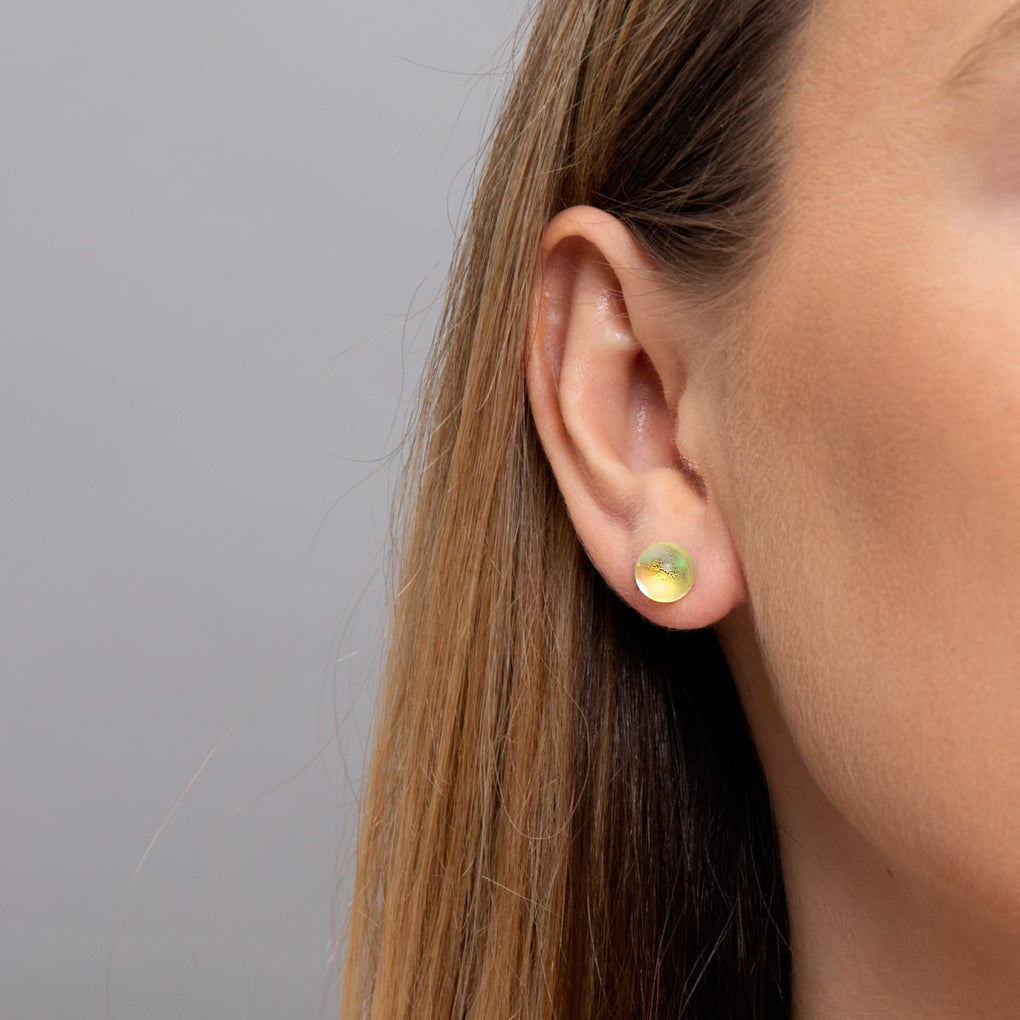 Canary | White Gold Vermeil | Mermaid Glass Stud Earrings