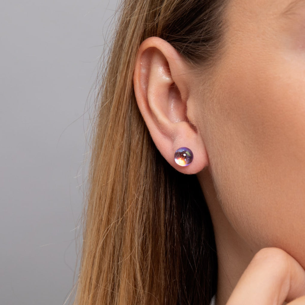 Ultraviolet | White Gold Vermeil | Galaxy Glass Stud Earrings
