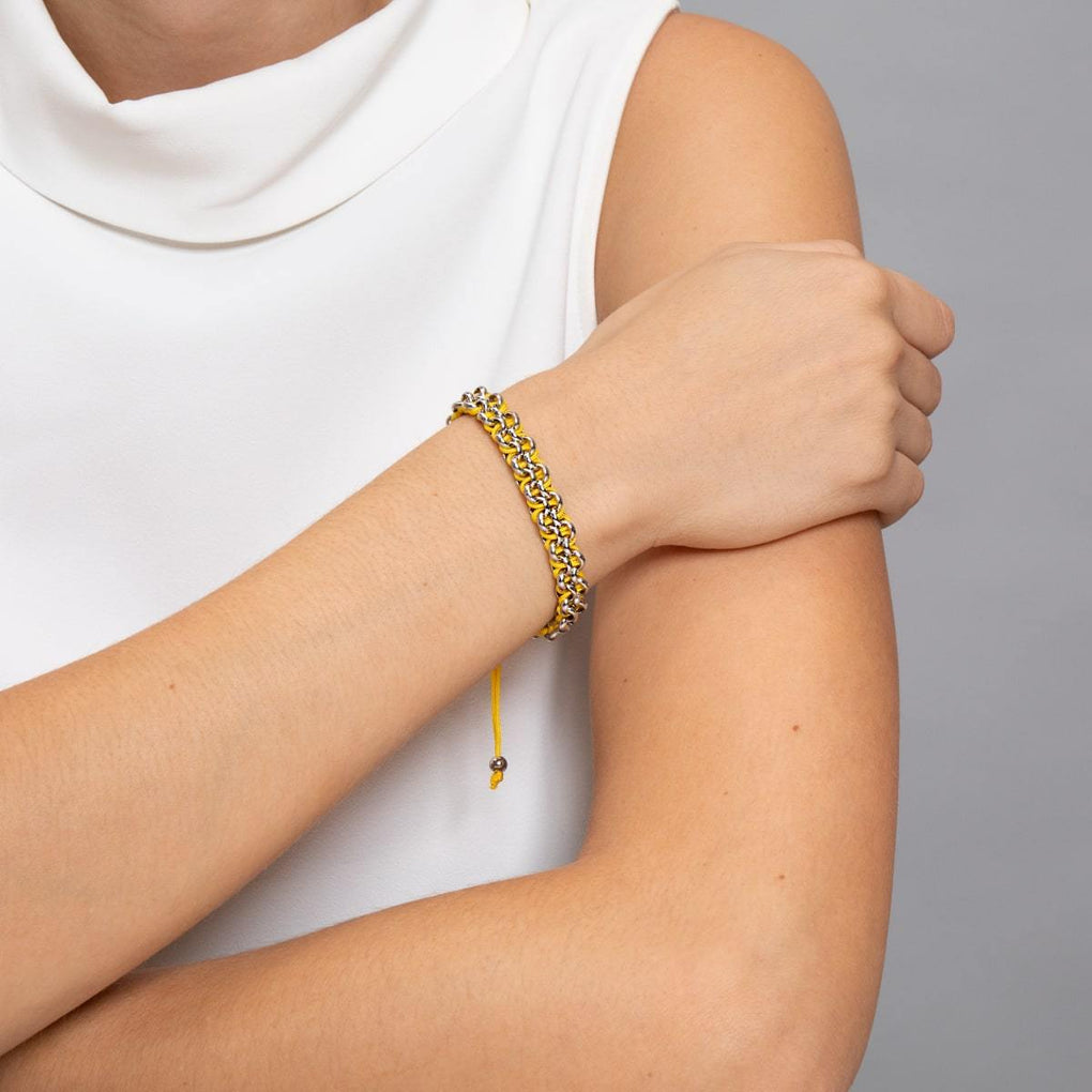Kismet Links | Pantone Bracelet | Silver | Blazing Yellow