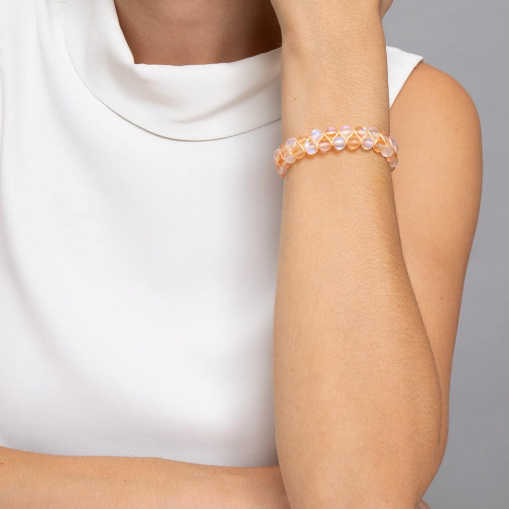 Peach | Silver | Double Mermaid Glass Bracelet