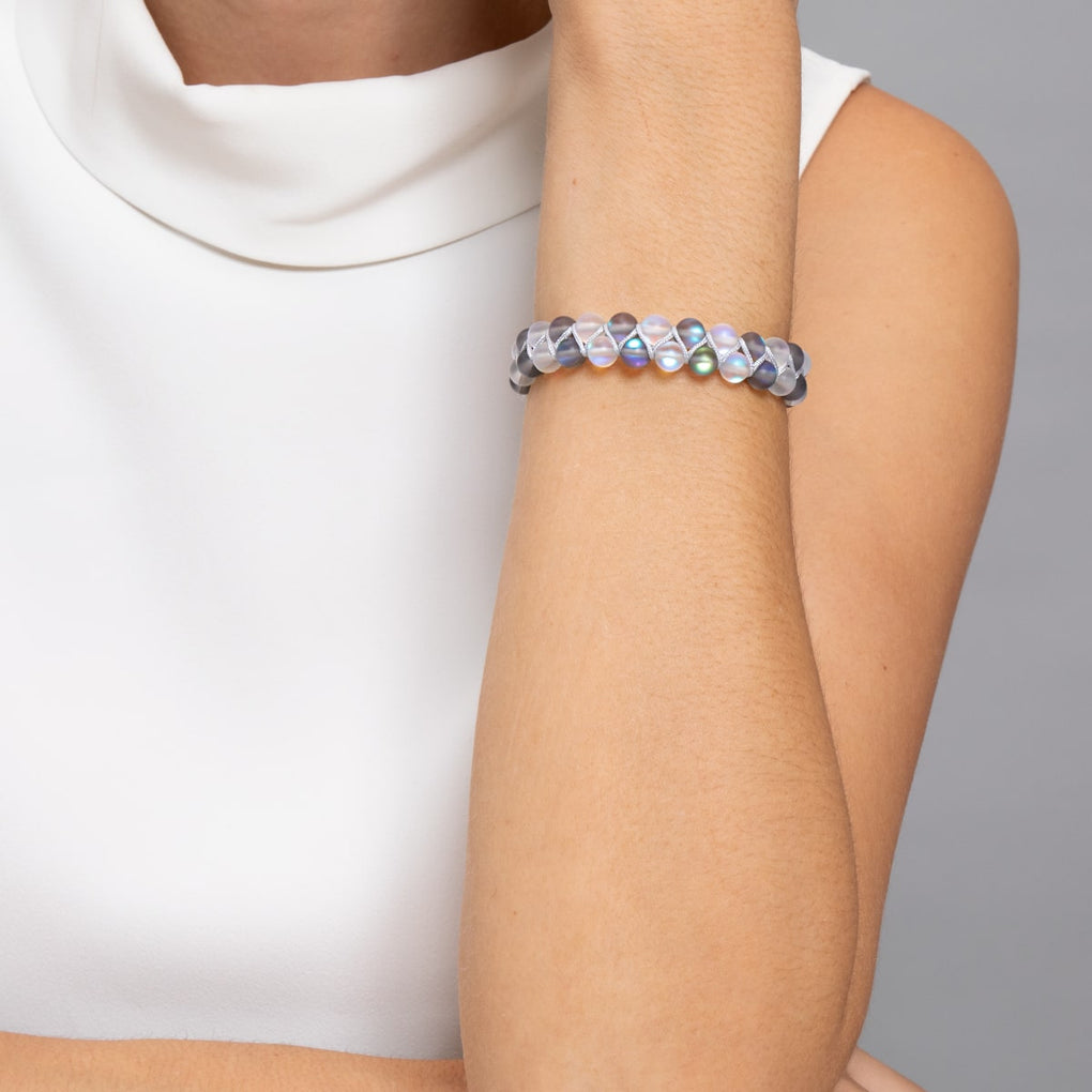 Grey and White | Silver | Double Mermaid Glass Bracelet