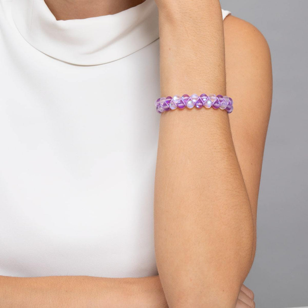 Violet and White | Silver | Double Mermaid Glass Bracelet