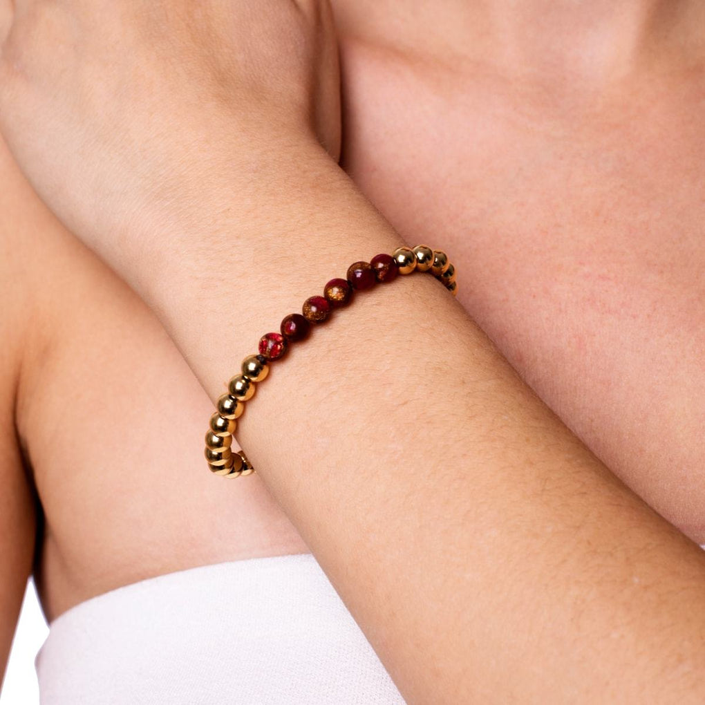 Inspired | 18k Gold | New Red Agate | Expression Bracelet