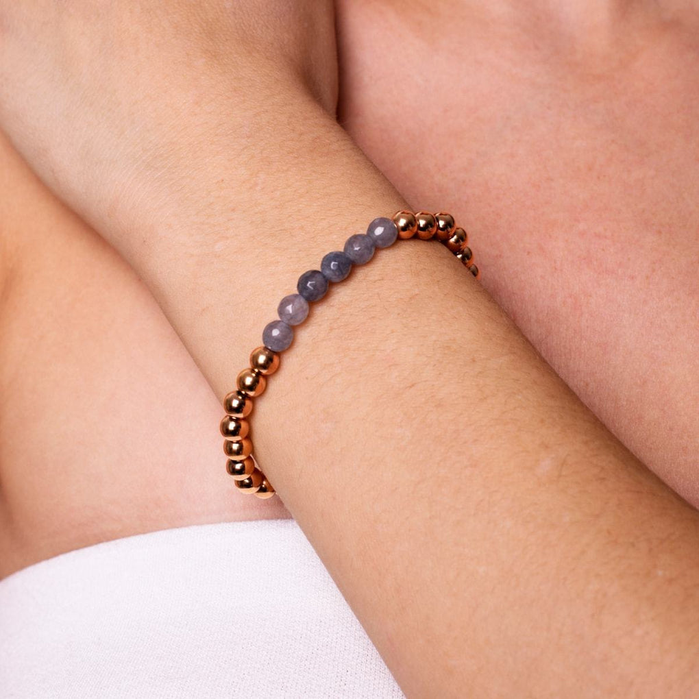 Appealing | 18k Rose Gold | Faceted Grey Jade | Expression Bracelet