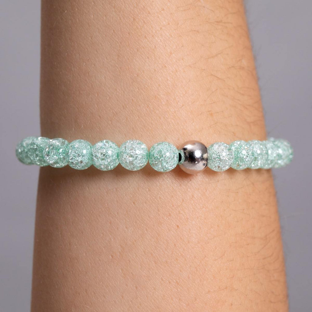 Green | White Gold Vermeil | Glitter Glass Bead Bracelet