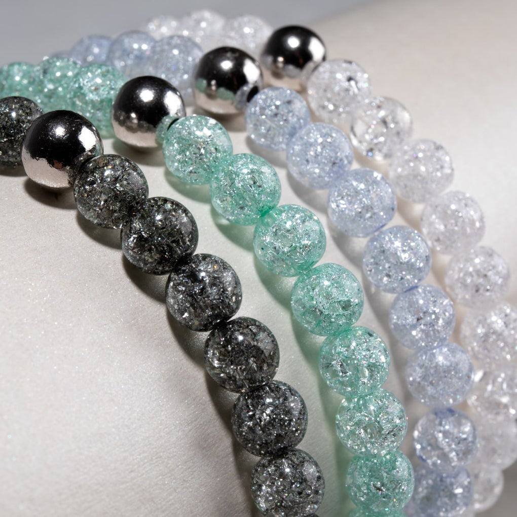 White Gold Vermeil | Glitter Glass Bead Bracelets