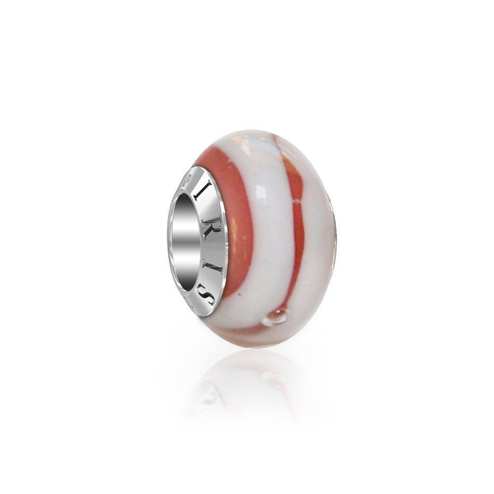 Cynthia - Pink White Striped Murano Glass Bead from IRIS