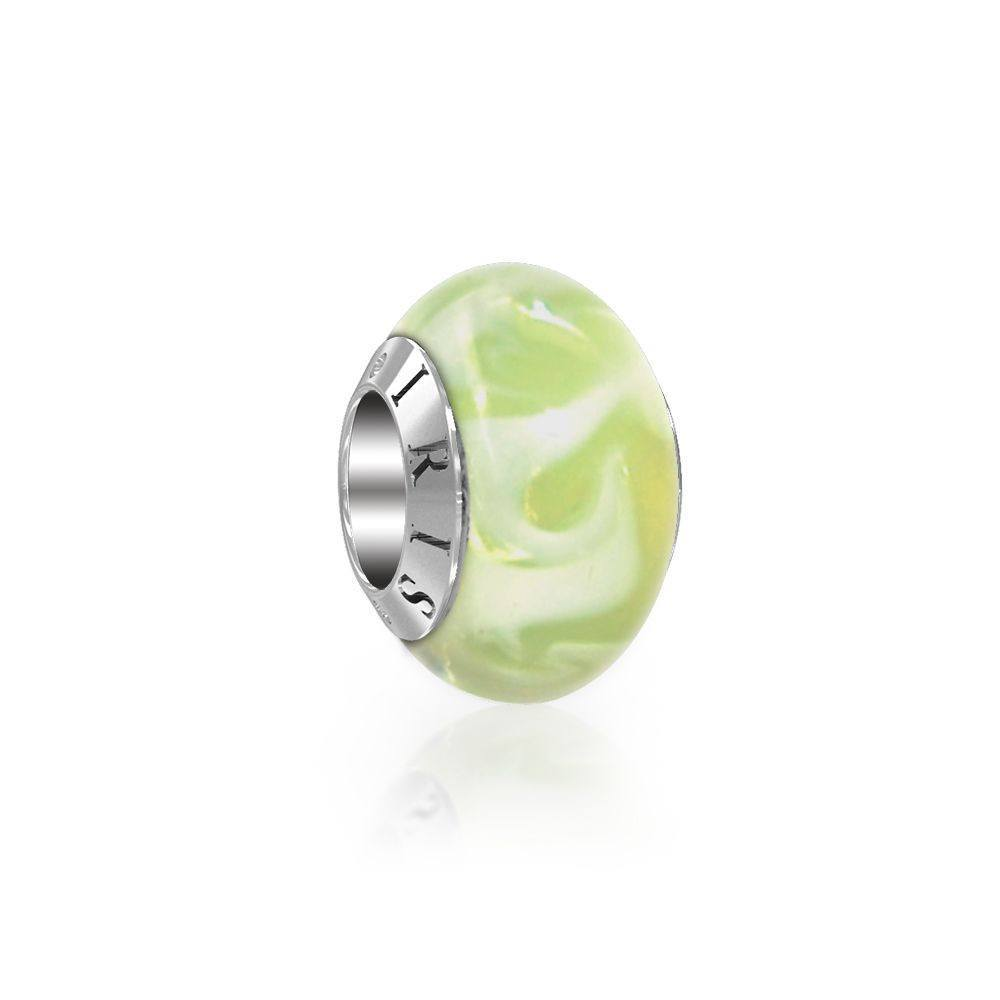 Deborah - Cream White Swirl Murano Glass Bead from IRIS