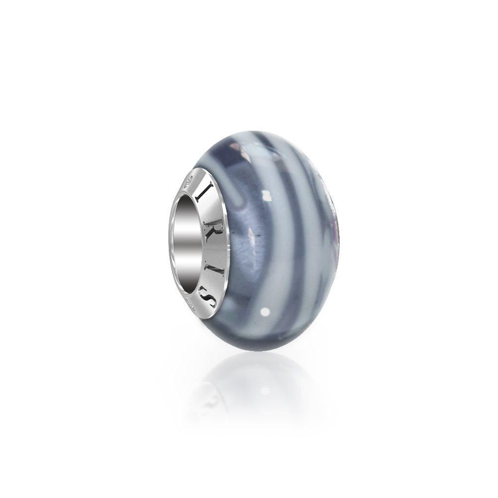 Joanne - Grey Striped Murano Glass Bead from IRIS