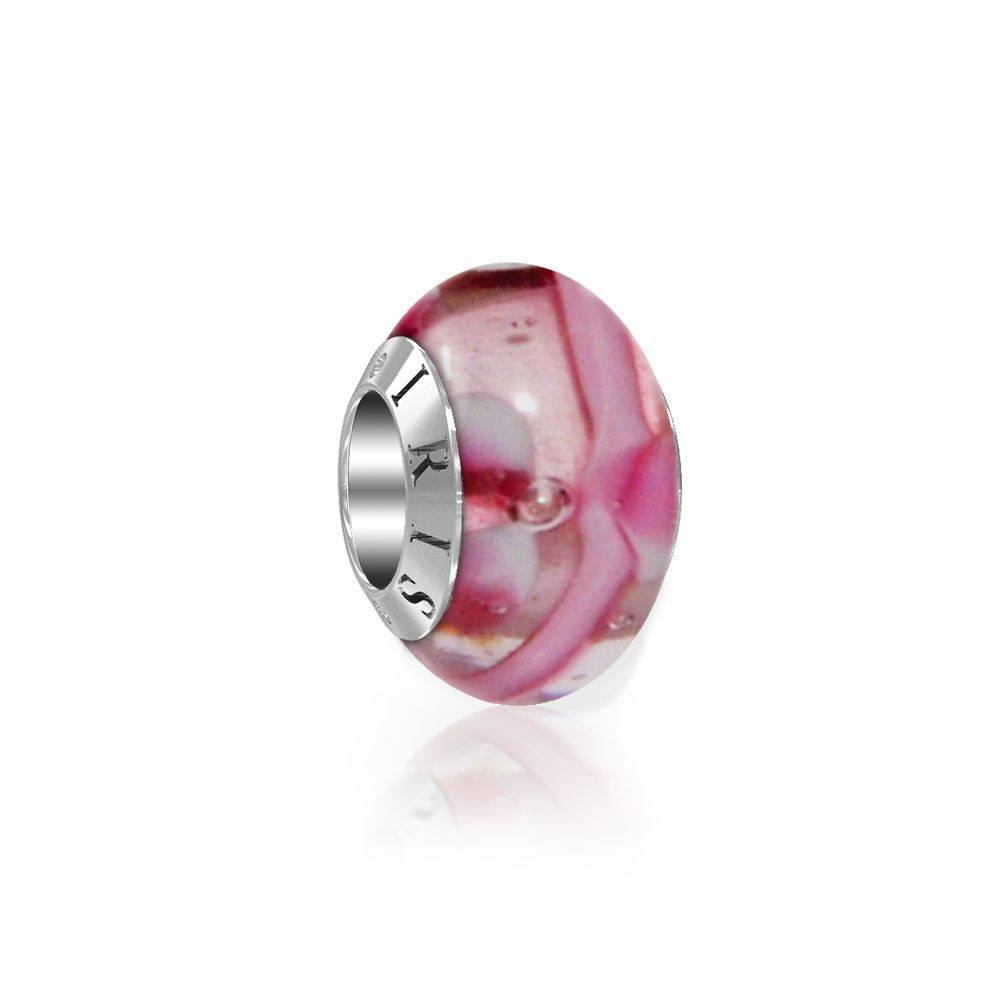 Lydia - Pink Flower Murano Glass Bead from IRIS