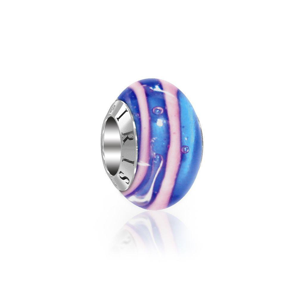 Julie - Blue Pink Striped Murano Glass Bead from IRIS