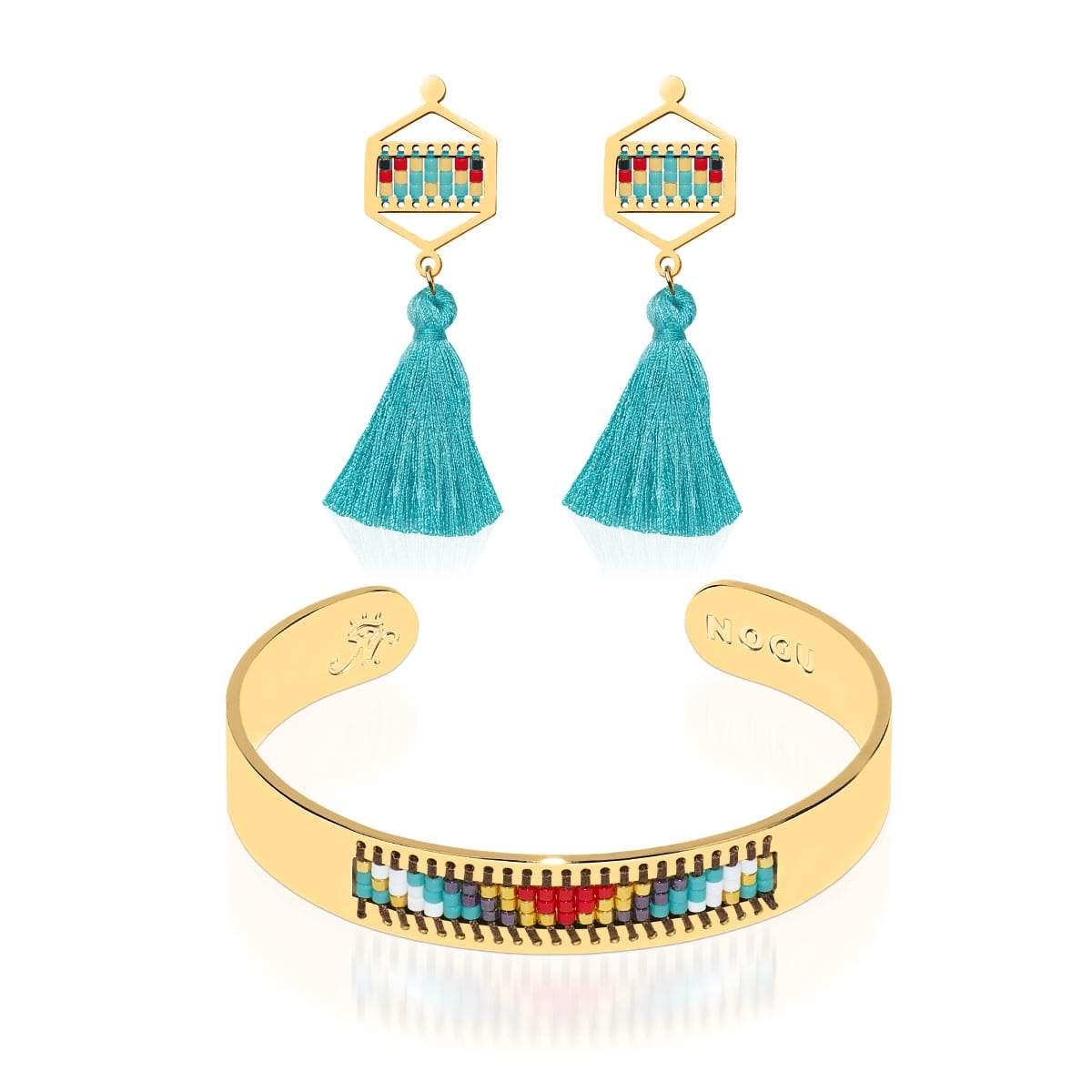 Palos Verdes Estates | 18k Gold | Boho Bangle Fringe Earring Set