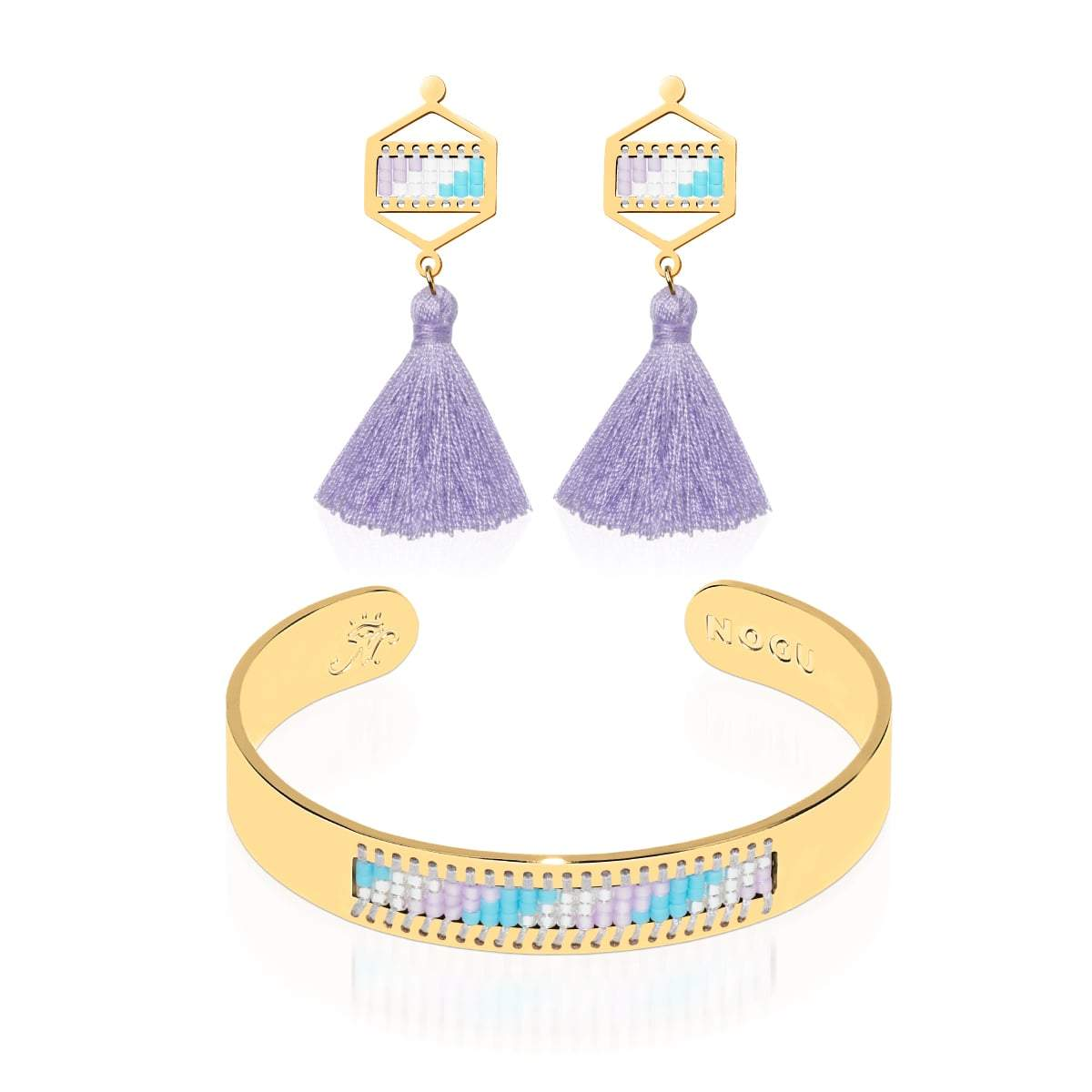 San Clemente | 18k Gold | Boho Bangle Fringe Earring Set