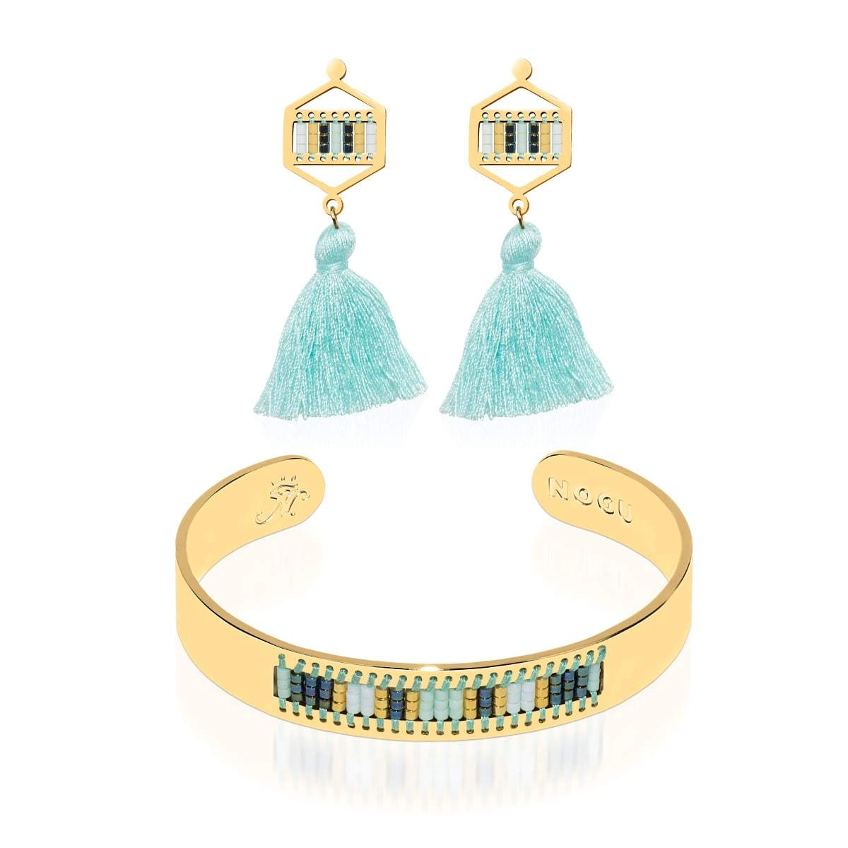 Hidden Hills | 18k Gold | Boho Bangle Fringe Earring Set