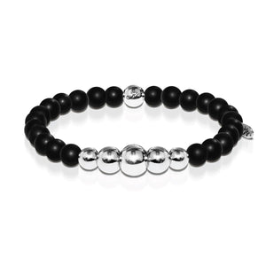 Men's | Silver | Temple | Matte Black Bead Bracelet
