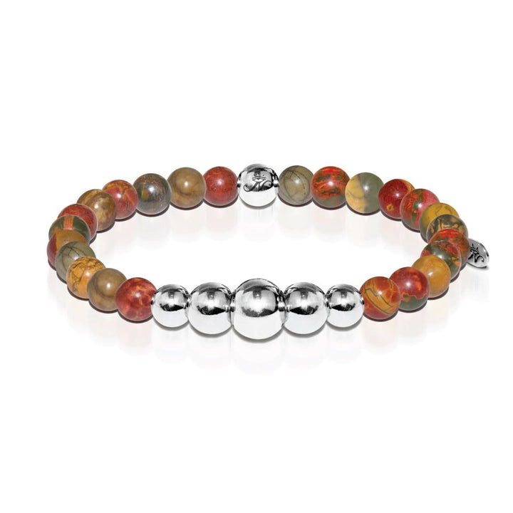 Selfless | Silver Aura Red Picasso Jasper Bracelet