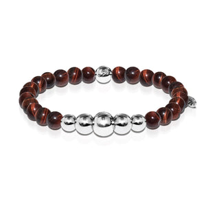 Passion | Silver Aura Red Tiger's Eye Bracelet