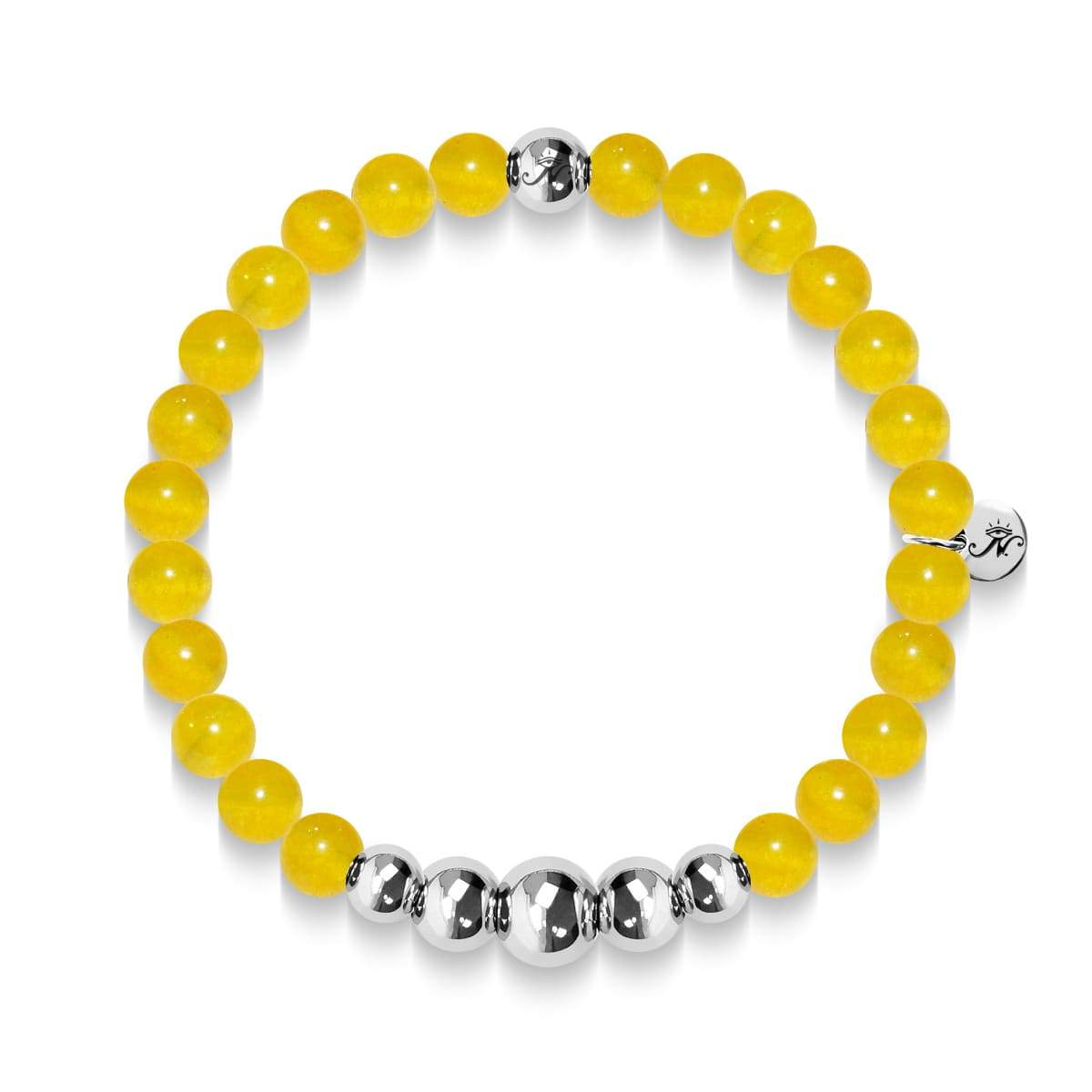 Intelligence | Silver Aura Yellow Jade Bracelet
