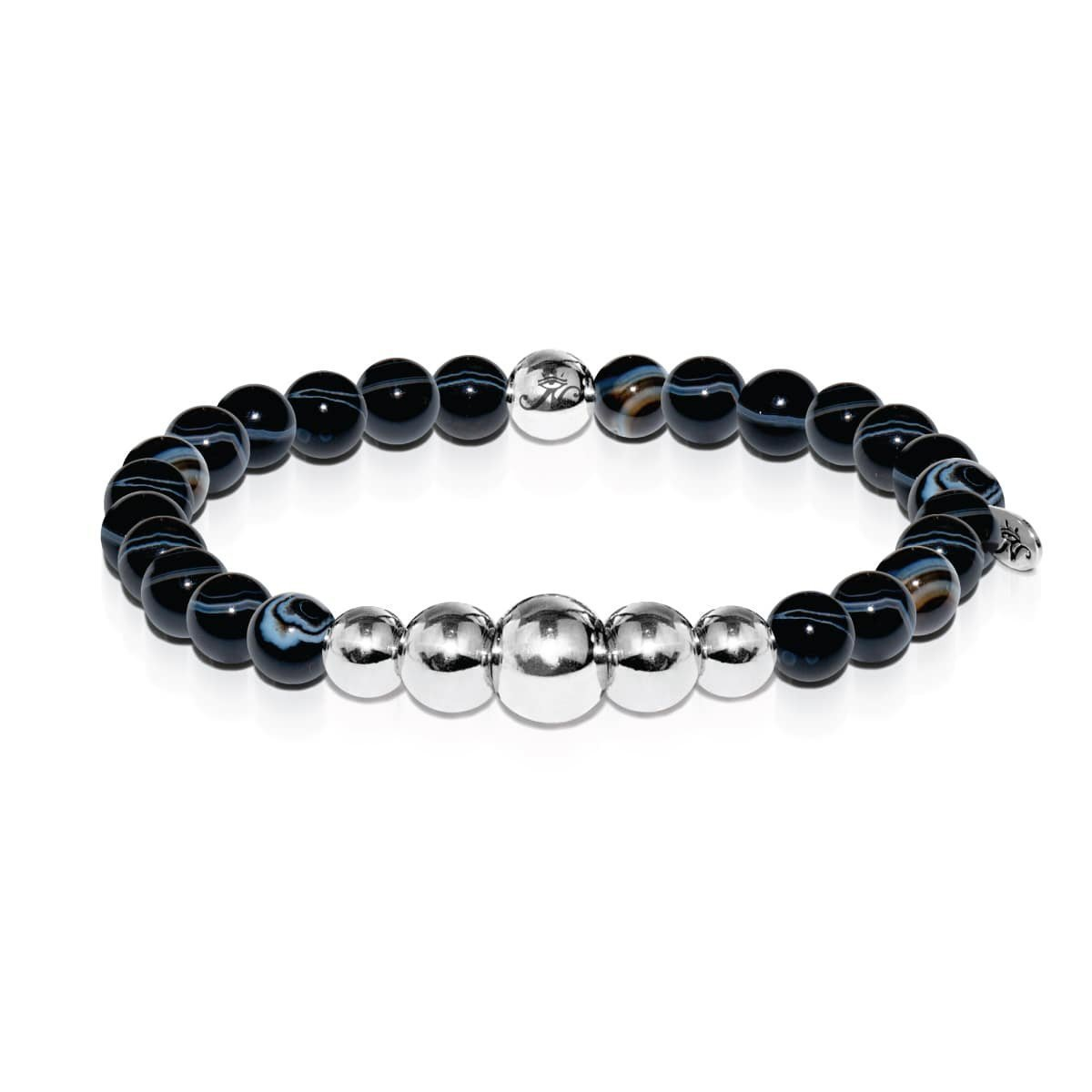 Men's | Silver | Temple | Black Line Agate Bead Bracelet