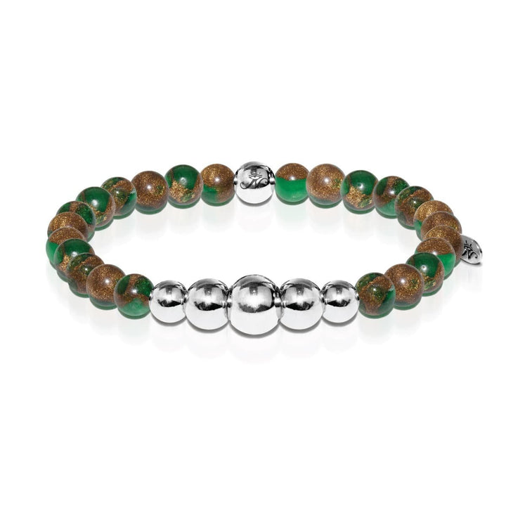Perseverance | Silver Aura New Green Agate Bracelet