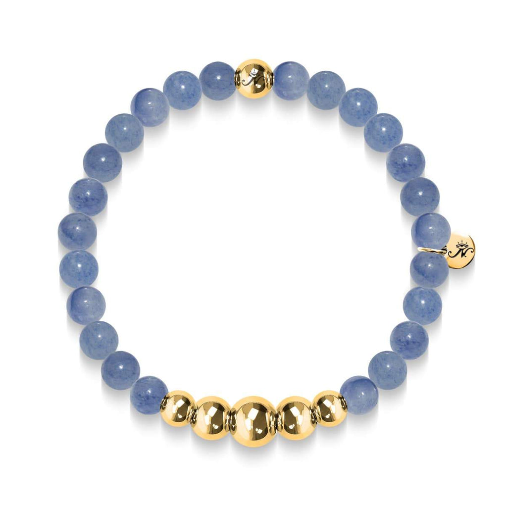 Peaceful | Gold Aura Blue Aventurine Bracelet