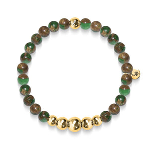 Perseverance | Gold Aura New Green Agate Bracelet