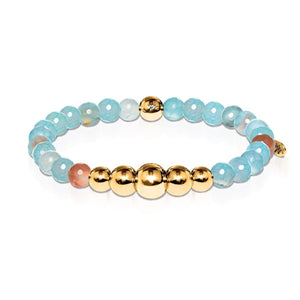 Mystical | Gold Aura Blue Dragon Grain Agate Bracelet
