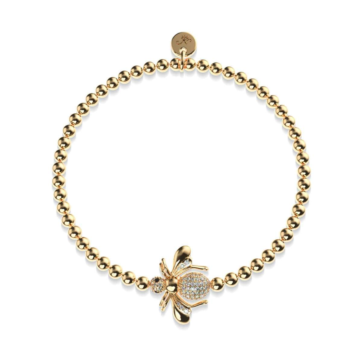 Queen | 18k Gold | Crystal Honeybee Charm Bracelet