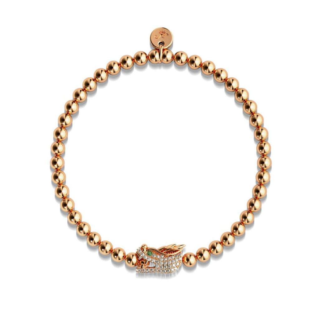 Dracarys | 18k Rose Gold | Crystal Dragon Charm Bracelet