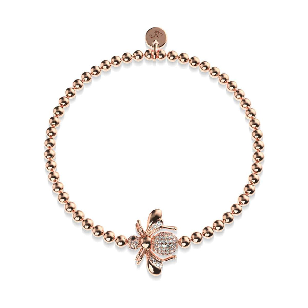 Queen | 18k Rose Gold | Crystal Honeybee Charm Bracelet