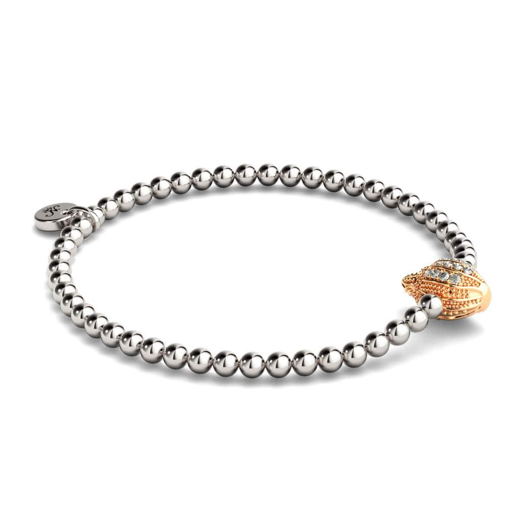 Isla | 18k Rose Gold & Silver | Crystal Conch Shell Charm Bracelet