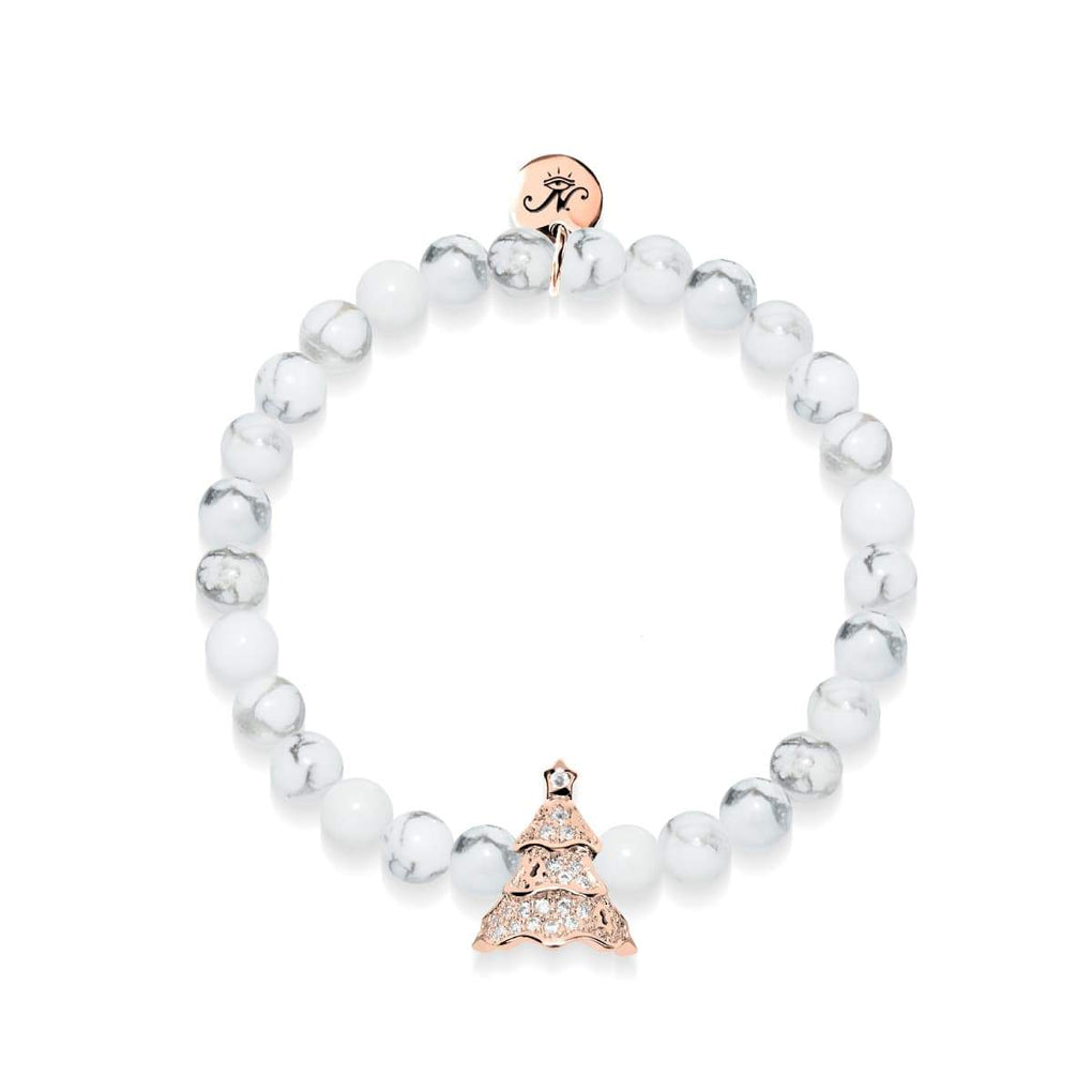 Evergreen | 18k Rose Gold & Howlite | Crystal Holiday Tree