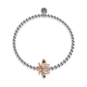 Queen | 18k Rose Gold & Silver | Crystal Honeybee Charm Bracelet