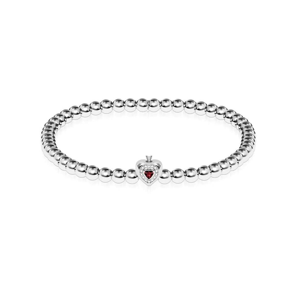 January | Garnet Birthstone | Silver | Crystal Heart Bracelet