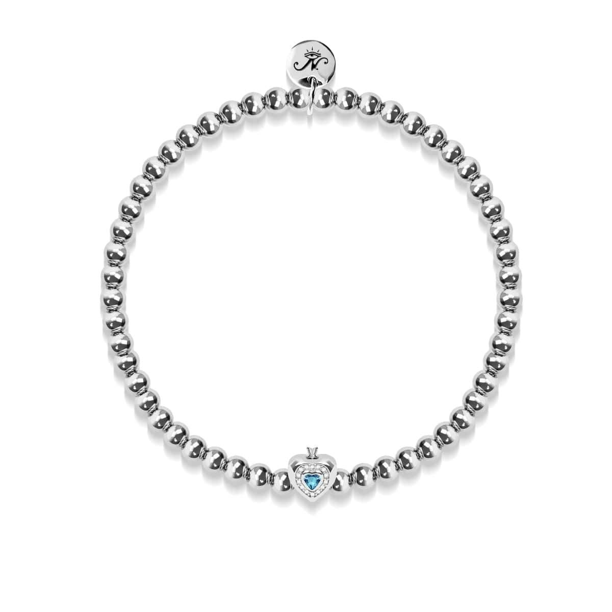 March | Aquamarine Birthstone | Silver | Crystal Heart Bracelet