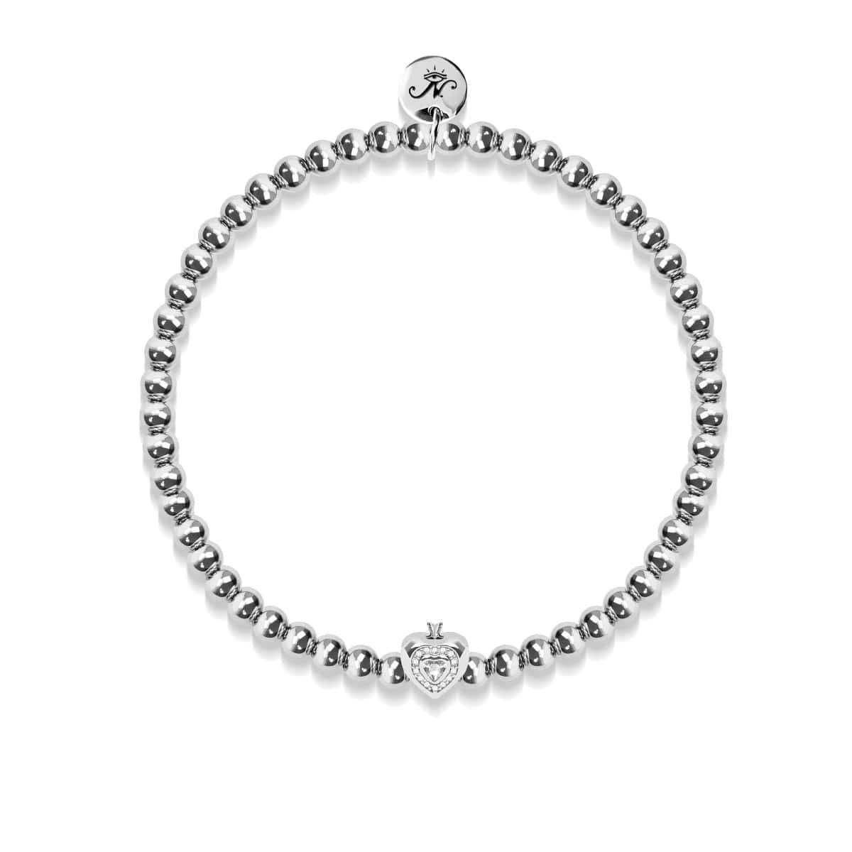 April | White Crystal Birthstone | Silver | Crystal Heart Bracelet