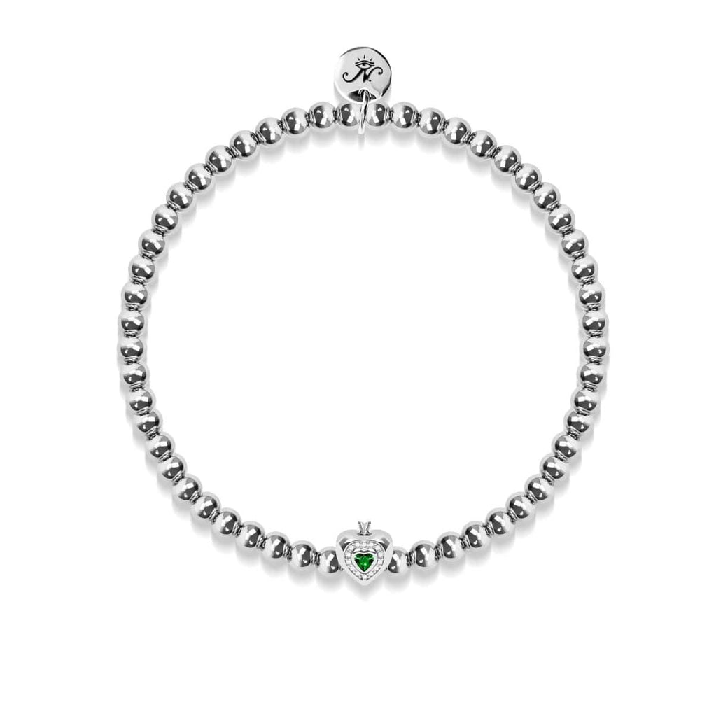 May | Emerald Birthstone | Silver | Crystal Heart Bracelet