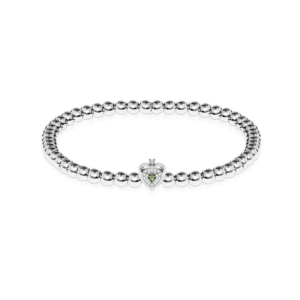 August | Peridot Crystal Birthstone | Silver | Crystal Heart Bracelet