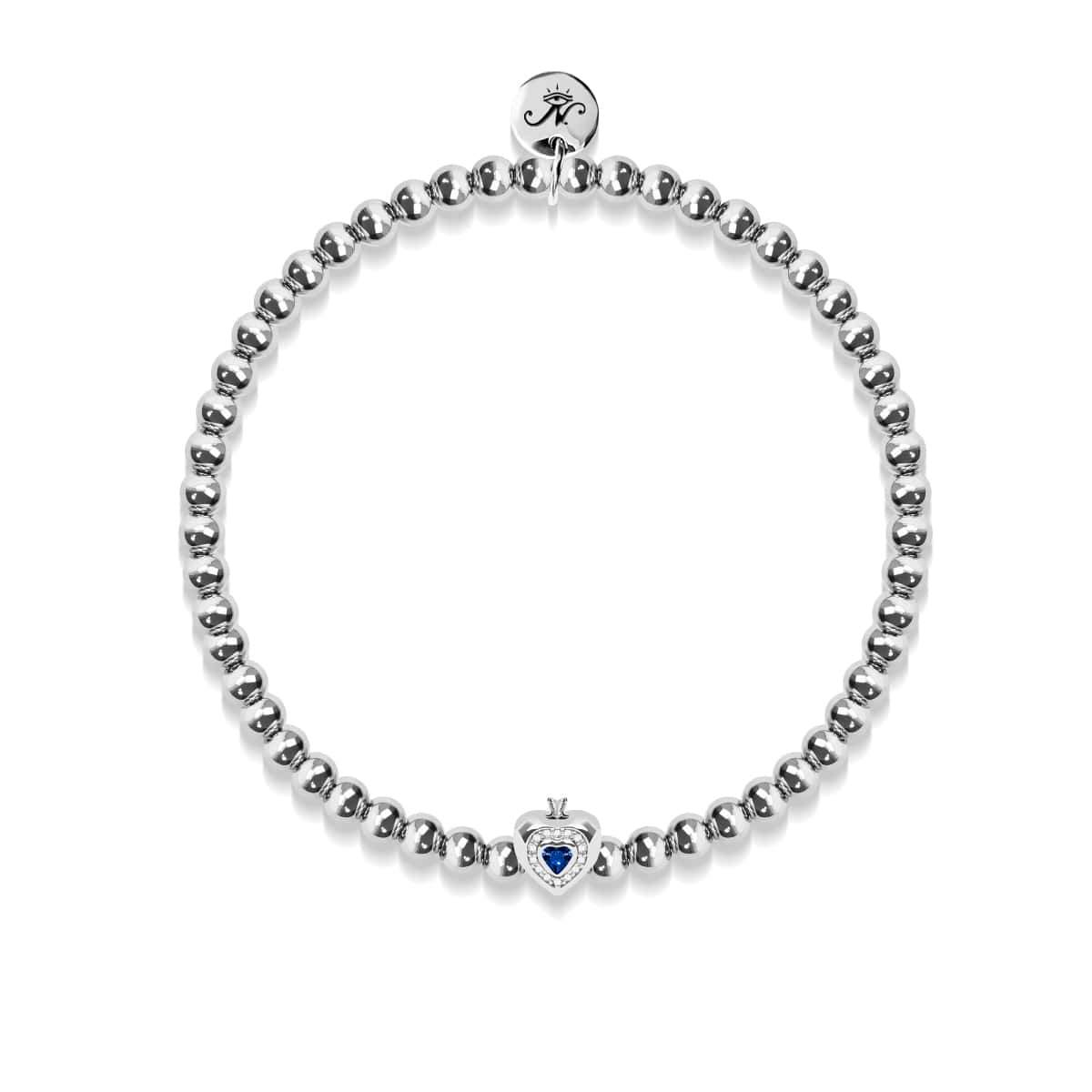 September | Sapphire Crystal Birthstone | Silver | Crystal Heart Bracelet