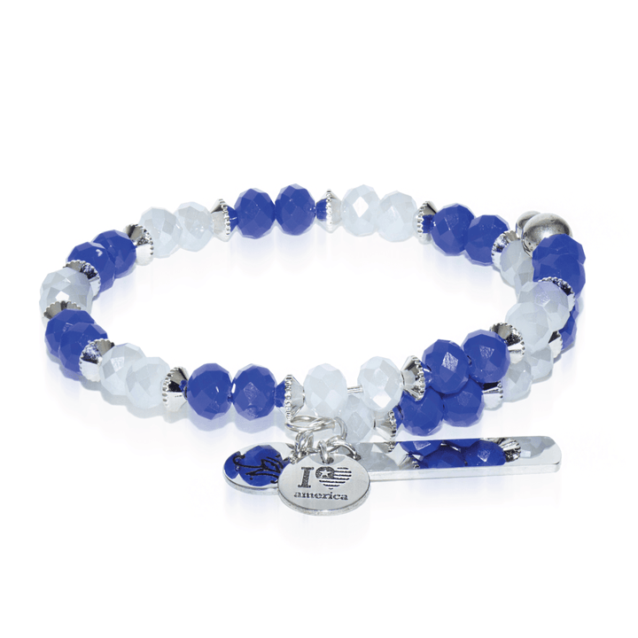 Blue & White | Silver Crystal Bangle