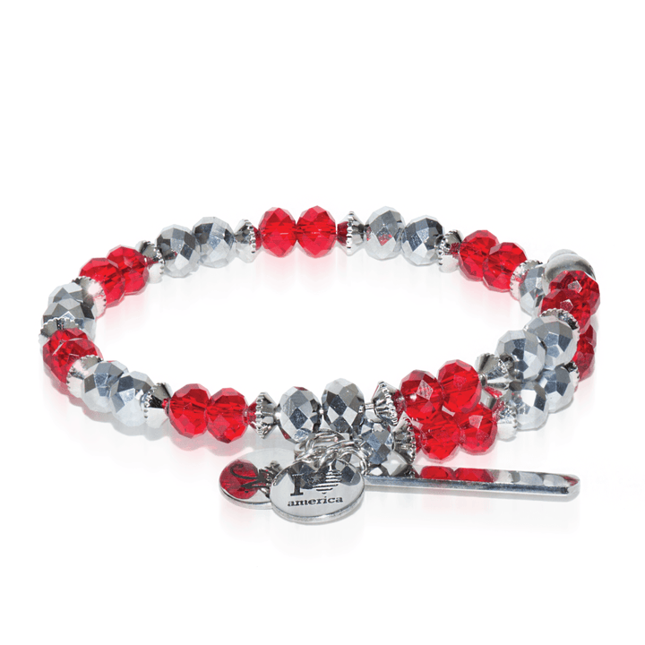 Red & Grey | Silver Crystal Bangle