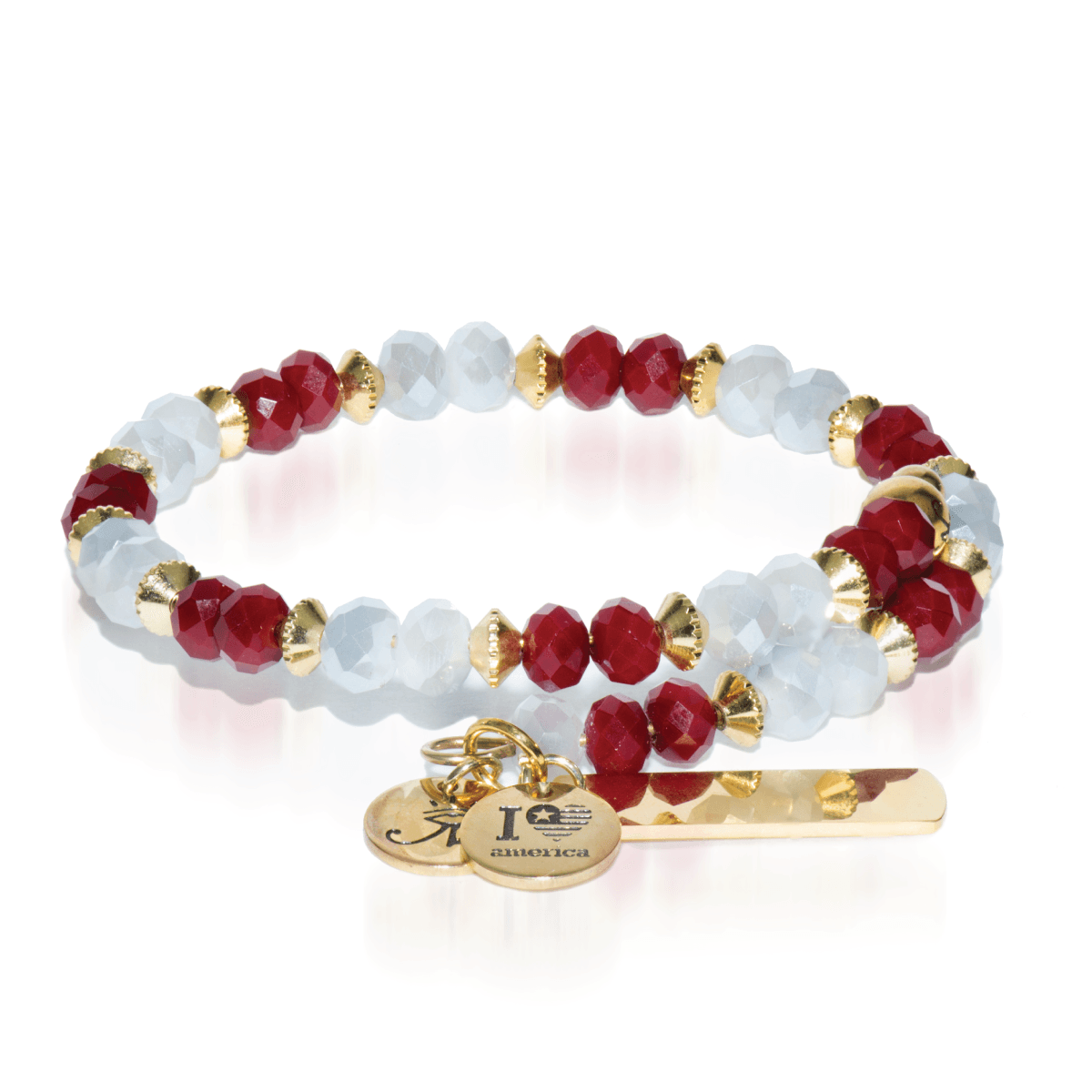 Red & White | Gold Crystal Bangle