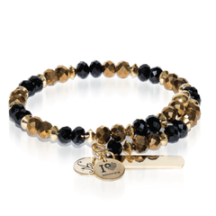 Black & Yellow | Gold Glass Crystal Expandable Bangle