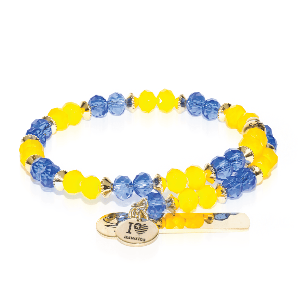 Blue & Yellow | Gold Crystal Bangle