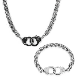 Silver | Chain Cuff Bracelet & Necklace Gift Set