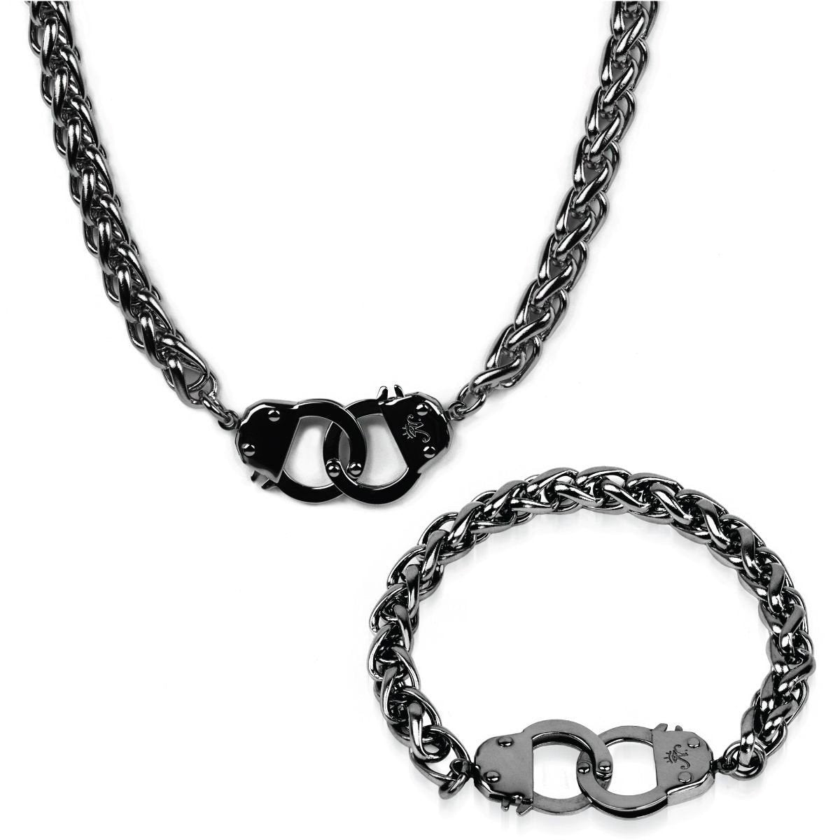 Gunmetal Steel | Chain Cuff Bracelet & Necklace Gift Set