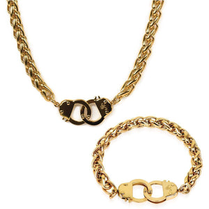 18k Gold | Chain Cuff Bracelet & Necklace Gift Set