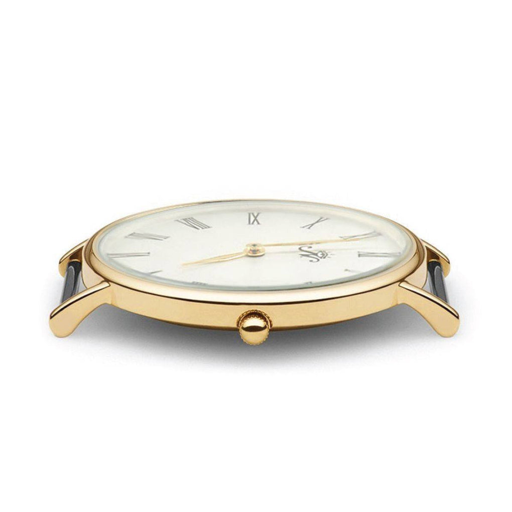 Museum - Gold Timepiece with Black Leather