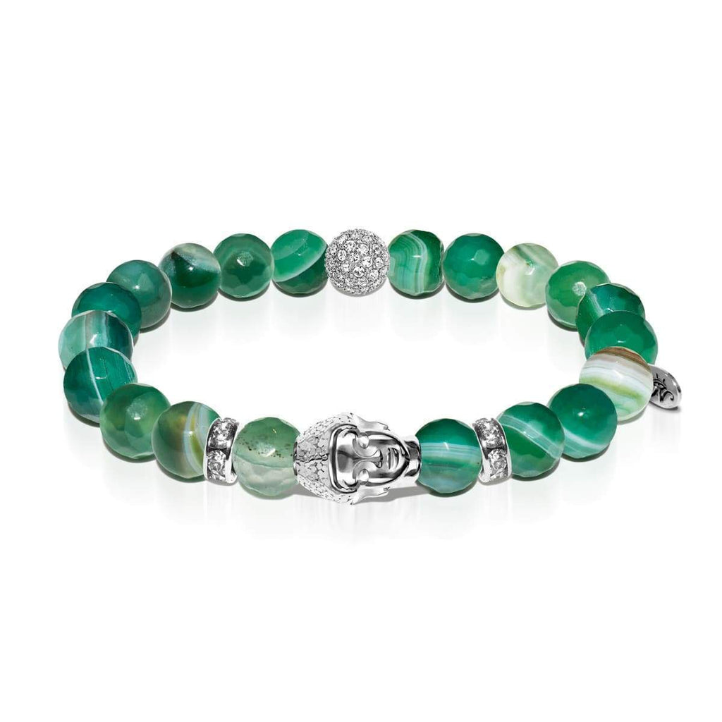 Astral Adventurer | White Gold Buddha | Green Striped Faceted Agate Bracelet