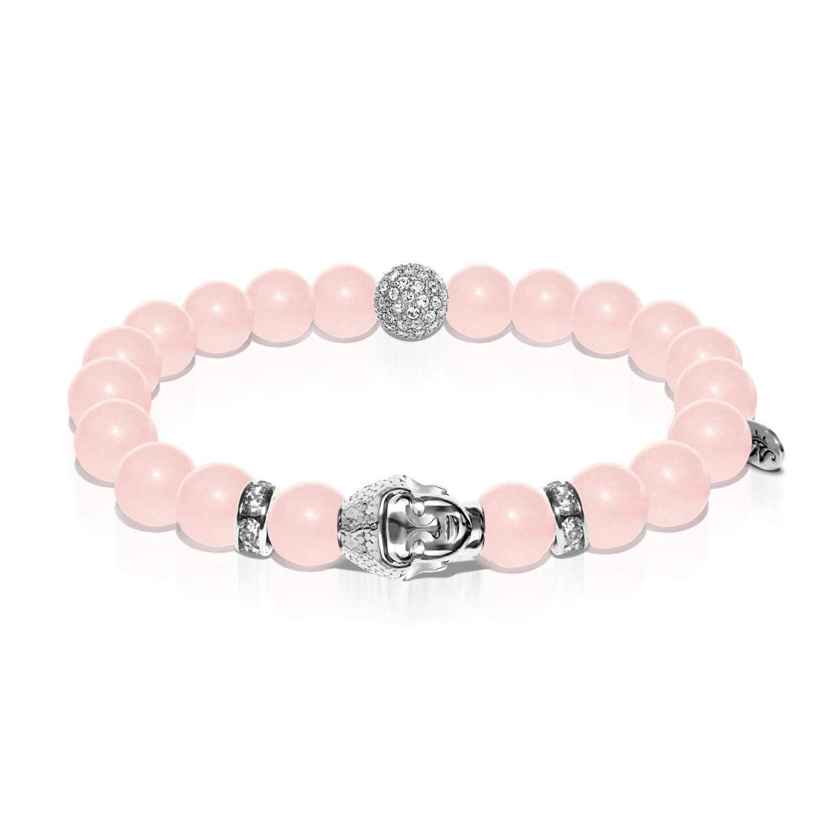Elemental Energy | White Gold Buddha | Rose Quartz Bracelet